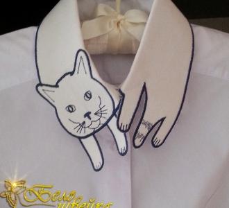 дизайн для машинной вышивки «кот на воротник» интернет-магазин дизайнов машинной вышивки Iren Main