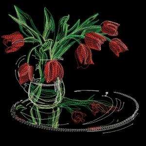 тюльпаны - дизайн для машинной вышивки интернет-магазин дизайнов машинной вышивки Ната Белошвейка