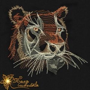 """""""тигр"""" дизайн для трикотажа интернет-магазин дизайнов машинной вышивки Ната Белошвейка"""
