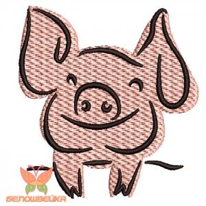 """""""свинюшка"""" дизайн машинной вышивки интернет-магазин дизайнов машинной вышивки Ната Белошвейка"""
