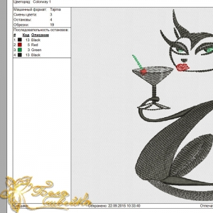 гламурная киса - дизайн для вышивальной машины интернет-магазин дизайнов машинной вышивки Ната Белошвейка