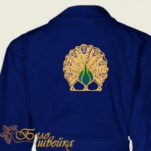 """""""павлин"""" красивый дизайн для вышивки на халатах интернет-магазин дизайнов машинной вышивки Ната Белошвейка"""