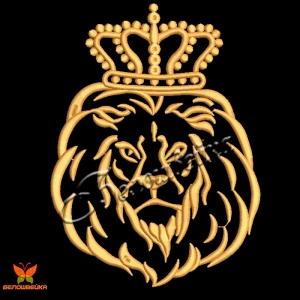 """компьютерная вышивка """"лев в короне"""" интернет-магазин дизайнов машинной вышивки Ната Белошвейка"""