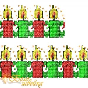 """""""рождественские свечи"""" орнамент машинной вышивки интернет-магазин дизайнов машинной вышивки Мария Казачок"""