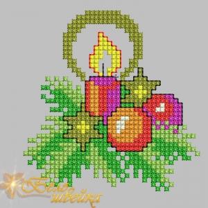 """""""рождественская свеча"""" машинный крестик интернет-магазин дизайнов машинной вышивки Мария Казачок"""