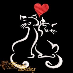 """""""влюбленные кошки"""" дизайн для вышивания на машине интернет-магазин дизайнов машинной вышивки Ната Белошвейка"""