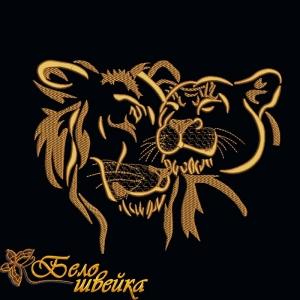 """дизайн машинной вышивки """"лев и львица"""" интернет-магазин дизайнов машинной вышивки Ната Белошвейка"""