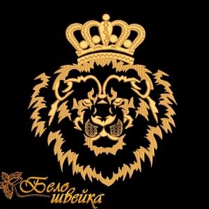 """дизайн машинной вышивки """"лев в короне"""" интернет-магазин дизайнов машинной вышивки Ната Белошвейка"""