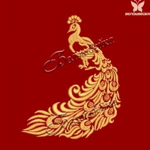 """""""павлин"""" дизайн для халатов и полотенец интернет-магазин дизайнов машинной вышивки Ната Белошвейка"""