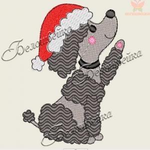 """""""собачка в новогоднем колпаке"""" дизайн для вышивания интернет-магазин дизайнов машинной вышивки Ната Белошвейка"""