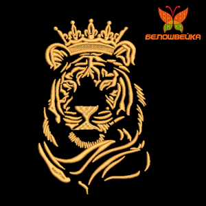 тигрица в короне - вышивка на халатах интернет-магазин дизайнов машинной вышивки Ната Белошвейка