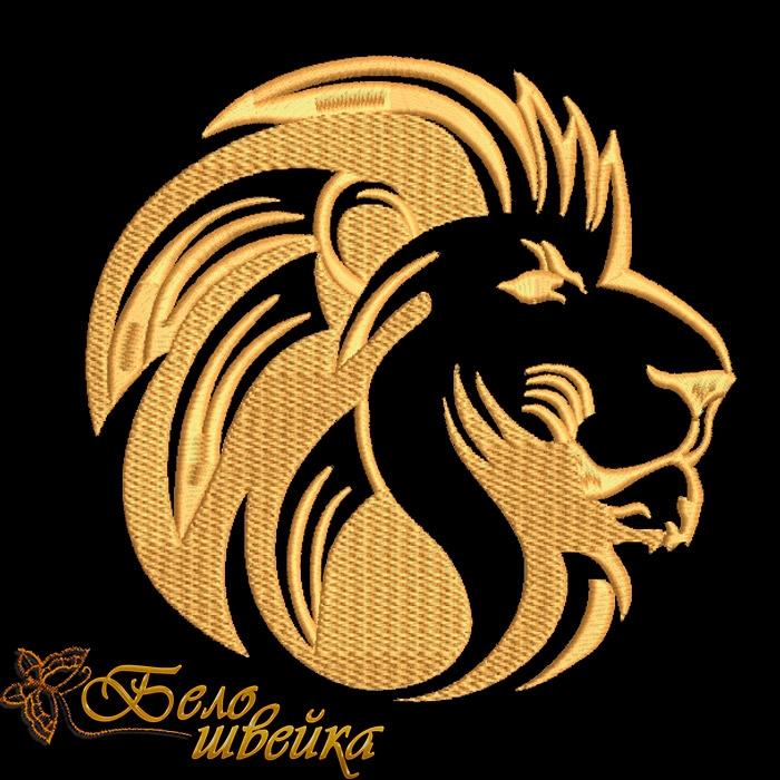 Дизайны машинной вышивки лев