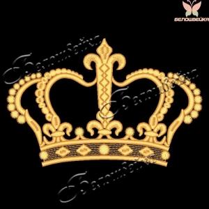 Корона без обрезок и протяжек, дизайн машинной вышивки