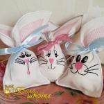 Дизайн для вышивки мешочков под пасхальные яйца «Зайчата»