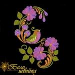 Дизайн для машинной вышивки «Птица с цветами»