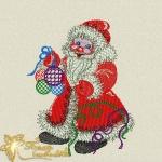 Дед мороз новогодний дизайн для машинной вышивки