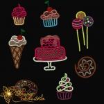 """""""вкусняшки"""" набор дизайнов для компьютерной вышивки интернет-магазин дизайнов машинной вышивки Ната Белошвейка"""