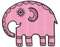 Дизайн для машинной вышивки «Этно-слон»
