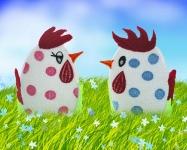 Дизайны подставок под пасхальные яйца «Петушок и курочка»