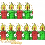 """""""Рождественские свечи"""" орнамент машинной вышивки"""