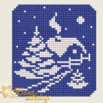 """Мини-картинка """"Снежный домик"""" вышивка крестиком"""