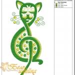 """дизайн для вышивальной машины """"музыкальный кот"""" интернет-магазин дизайнов машинной вышивки Ната Белошвейка"""