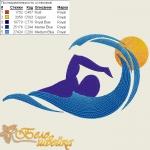 """""""пловец"""" дизайн для компьютерной вышивки интернет-магазин дизайнов машинной вышивки Ната Белошвейка"""