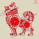 """""""красный пес"""" дизайн для машинной вышивки интернет-магазин дизайнов машинной вышивки Ната Белошвейка"""
