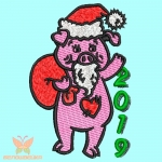 Поросенок Дед Мороз - машинная вышивка