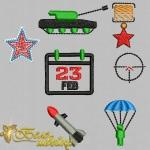 """Набор дизайнов для вышивания на платках """"23 февраля"""""""
