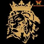 Лев в короне машинная вышивка